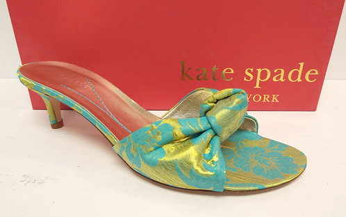 KATE SPADE Green & Yellow Silk Knot Slide Sandal 7.5