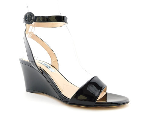 PRADA Black Patent Wedge Ankle Sandals 37.5