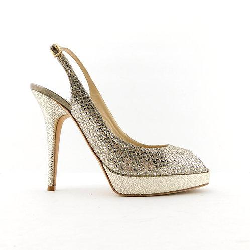JIMMY CHOO Size 7.5 CLUE Champagne Glitter Slingback Heels Pumps Shoes 37.5 Eur