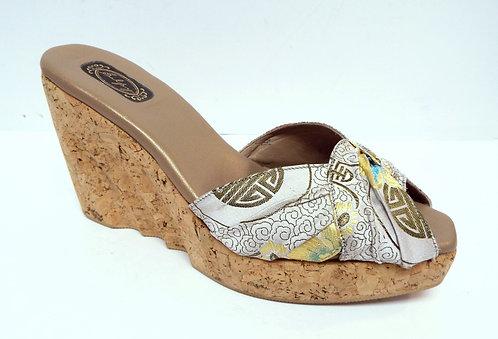 SALPY Oriental Silk & Cork Platform Slide Sandal 8