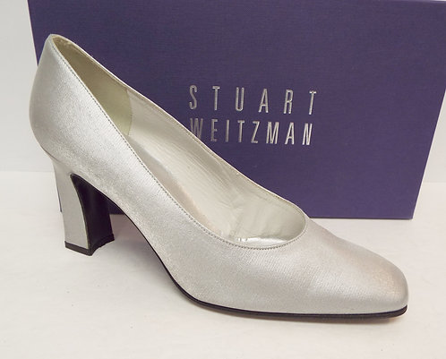 STUART WEITZMAN Silver Fabric Evening Pump
