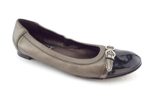 AGL ATTILIO GIUSTI LEOMBRUNI Size 10 Pewter Cap Toe Ballet Flats Shoes 41
