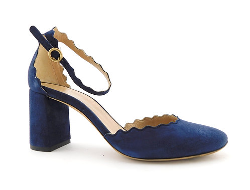 CHLOE Lauren Blue Suede Scalloped Ankle Strap Pumps 36