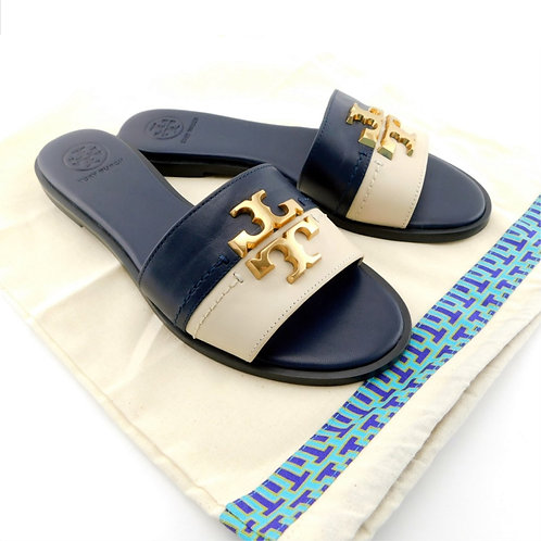 TORY BURCH Everly Logo Navy & Ivory Slide Sandals 7