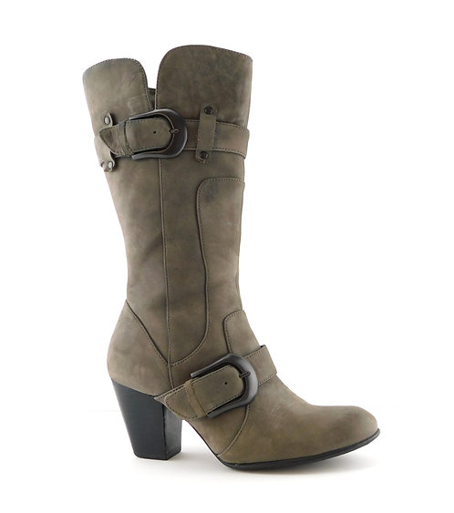 BORN Crown Gray Leather Buckle Block Heel Boots 8