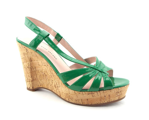 MARC JACOBS Emerald Patent Wedge Sandals 40