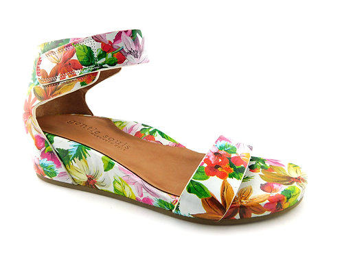 GENTLE SOULS Gianna Tropical Floral Wedge Sandals 7