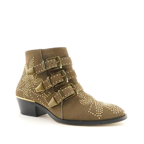 CHLOE Size 6 SUSANNA Beige Taupe Studded 3 Buckle Ankle Boots 36 Eur