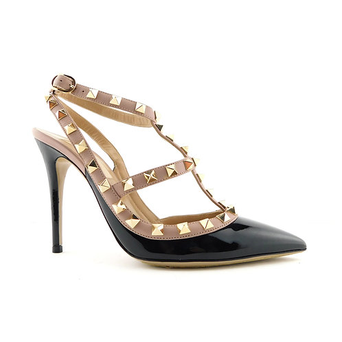VALENTINO Size 6 ROCKSTUD Black T-Strap Studded Heels Pumps Shoes 36 Eur