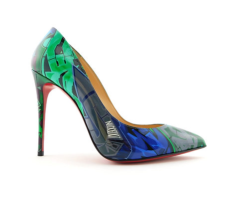 CHRISTIAN LOUBOUTIN Pigalle Follies Metrograf Taiga  Green & Blue Pumps 37