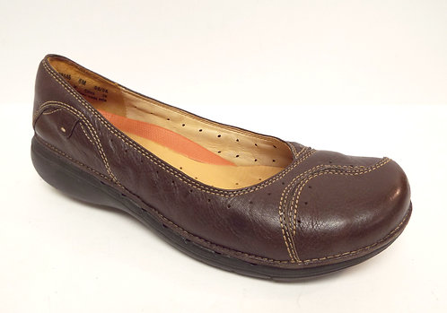 CLARKS Unstructured Brown Leather Ballet Flats 8