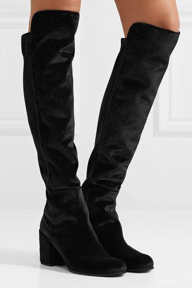 STUART WEITZMAN Black Stretch Velvet OTK Boots