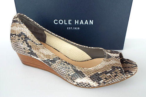 COLE HAAN Air TALI Snake Print Open Toe Wedge 9.5