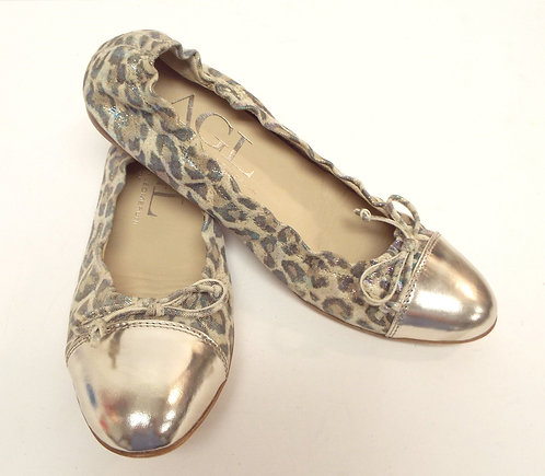 AGL Leopard Print Leather Ballet Flat 38.5 / 8