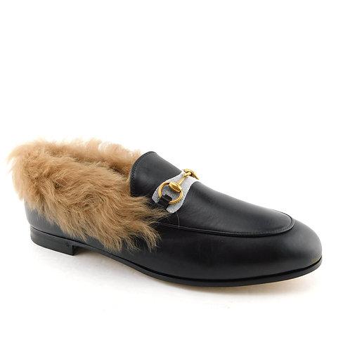 GUCCI Size 10 JORDAAN Fur Lined Horse Bit Loafers Flats Shoes 41 Eur