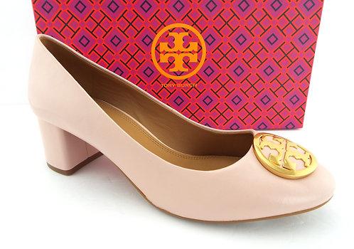 TORY BURCH Logo Blush Pink Logo Block Heel 8.5