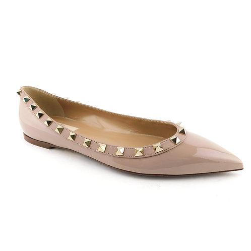 VALENTINO Size 8 ROCKSTUD Beige Pointed Ballet Flats Shoes 38.5 Eur
