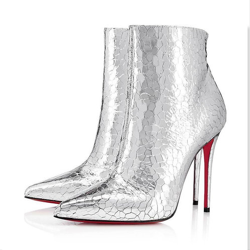 CHRISTIAN LOUBOUTIN Silver So Kate Bootie 38.5