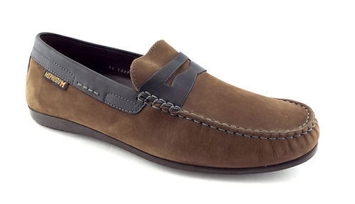 MEPHISTO Brown Nubuck Leather Penny Loafers 9.5