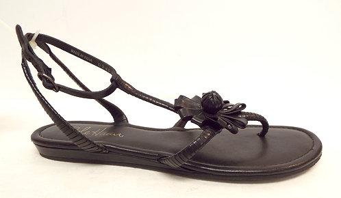 COLE HAAN Black Ankle Strap Flower Sandals