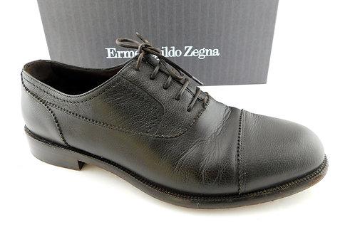 ERMENEGILDO ZEGNA Brown Leather Men's Oxfords 10.5
