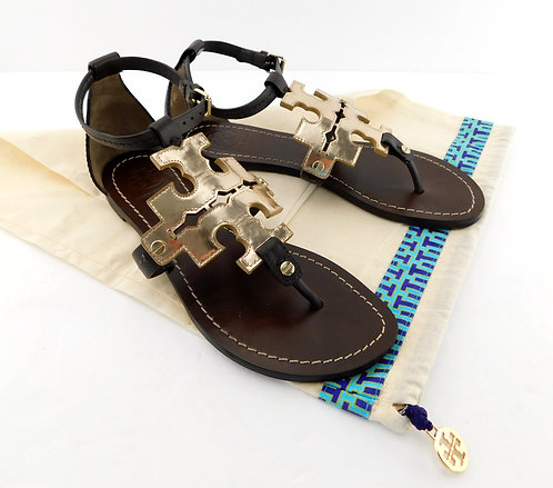 TORY BURCH Brown Gold Logo Leather Sandals 6.5