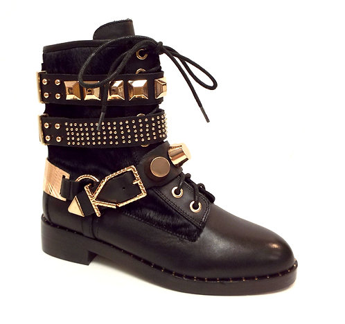 IVY KIRZHNER BOWERY Black Rose Gold Studded Moto Boot