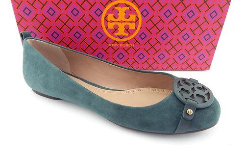 TORY BURCH Logo Green Suede Ballet Flats 7.5