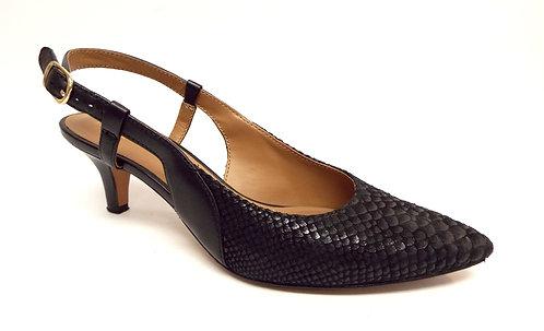 CLARKS Artisan Black Snake Print Leather Slingback 7.5