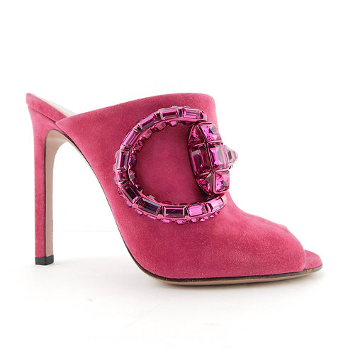 New GUCCI Size 5.5 MAXIME Pink Suede Crystal Choker Mules Heels Shoes 35.5 EUR
