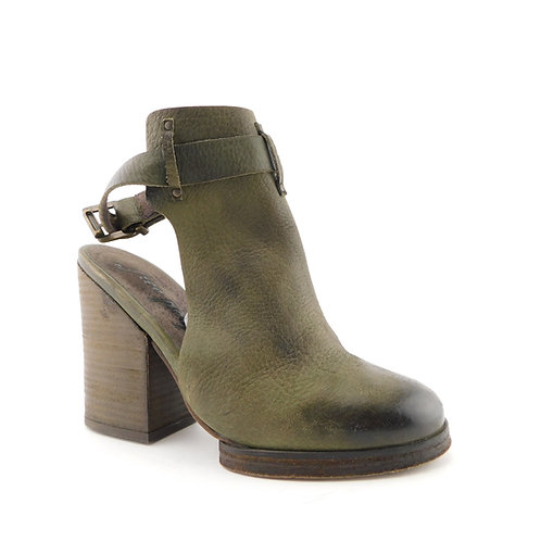 FREE PEOPLE Size 7 Olive BRETON Open Booties Chunk Heels Shoes 37 EUR
