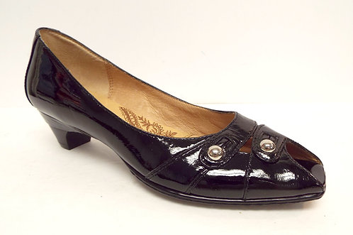 SOFFT Black Patent Peep Toe Heels Pumps