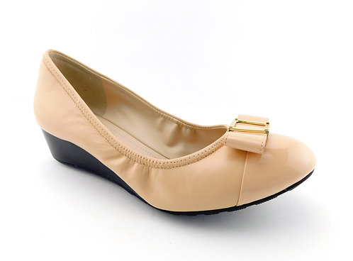COLE HAAN Nude Leather Bow Ballet Wedges 8.5