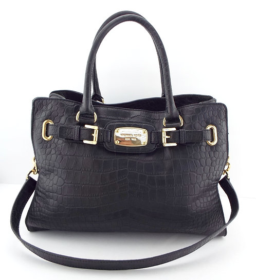 MICHAEL KORS Logo Black Croc Embossed Leather Tote