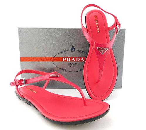 PRADA Signature Logo Pink Thong Sandals 37
