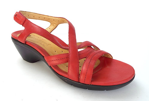 CLARKS Unstructured Red Leather Slingback Sandal 10