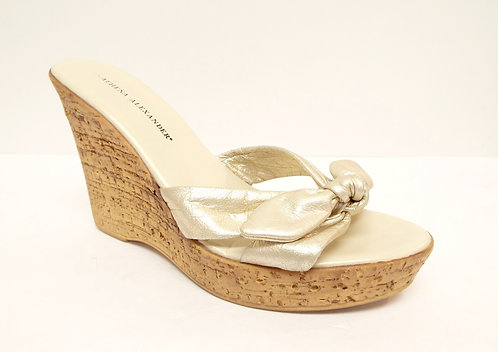 ATHENA ALEXANDER Size 9 Platinum Metallic Wedge Sandal
