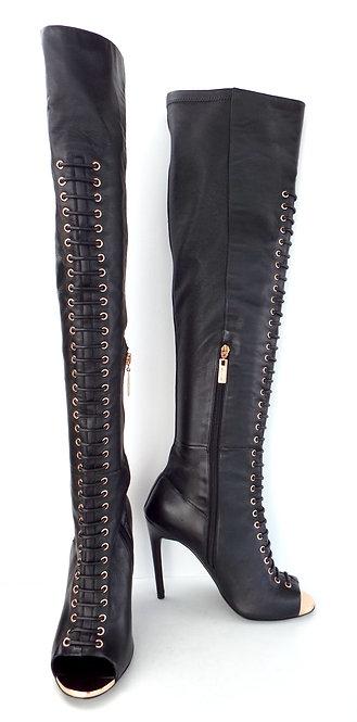 IVY KIRZHNER CRANE OTK Lace up Leather Peep Toe Boot 9