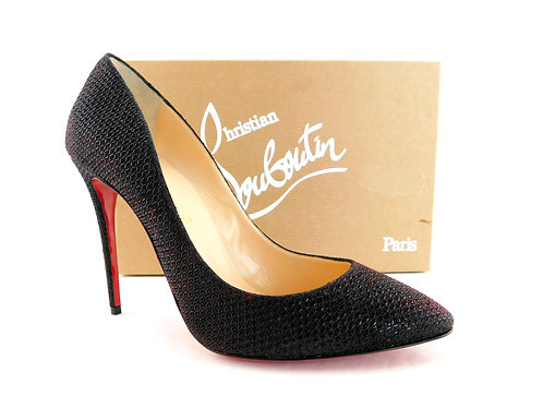 CHRISTIAN LOUBOUTIN Black Red Heels Pumps 39.5