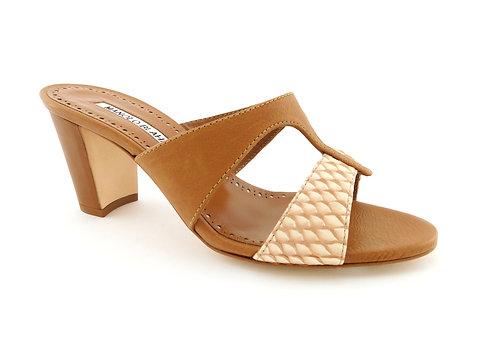 MANOLO BLAHNIK  Medjul Snakeskin Slide Sandals 35.5
