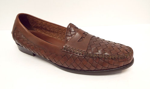 COLE HAAN Brown Woven Leather Penny Loafer 11
