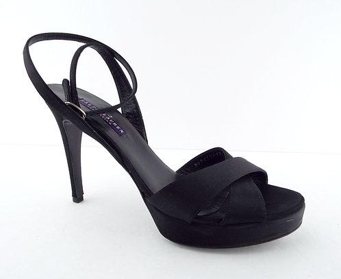 RALPH LAUREN Purple Label Black Satin Evening Sandals 8.5