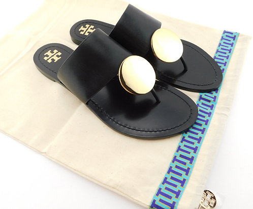 TORY BURCH Patos Disc Black Leather Thong Sandals 8.5