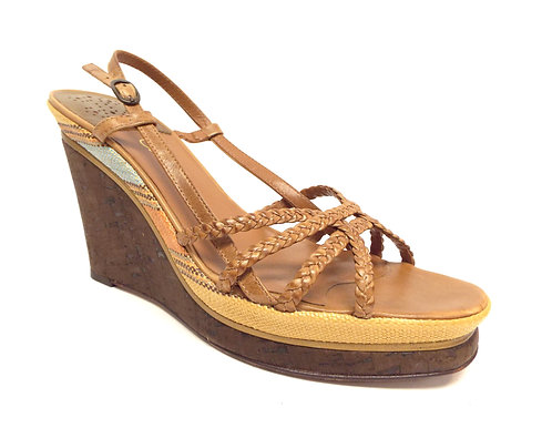 COLE HAAN Nike Air Brown Strappy Wedge Sandal 8