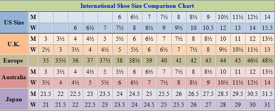 International shoe size chart   FASHION WISH Designer Shoes andHandbags