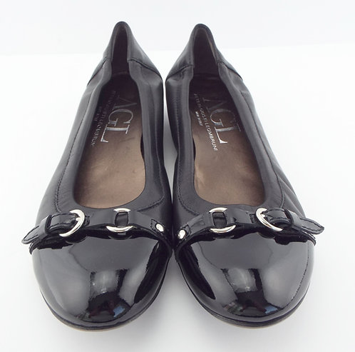 AGL Black Cap Toe Belted Leather Ballet Flats 40