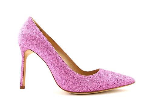 MANOLO BLAHNIK Pink Glitter Classic Heel Pump 37.5