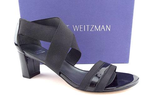 STUART WEITZMAN Black Patent Criss Cross Elastic Strap Sandals 8