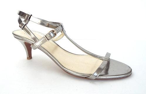 J.CREW Silver Metallic Ankle Strap Sandal 8