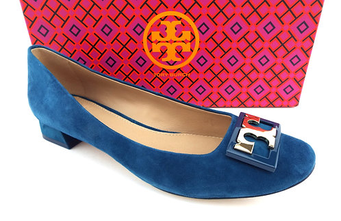 TORY BURCH Symphony Blue Suede Low Heel Pumps 6.5
